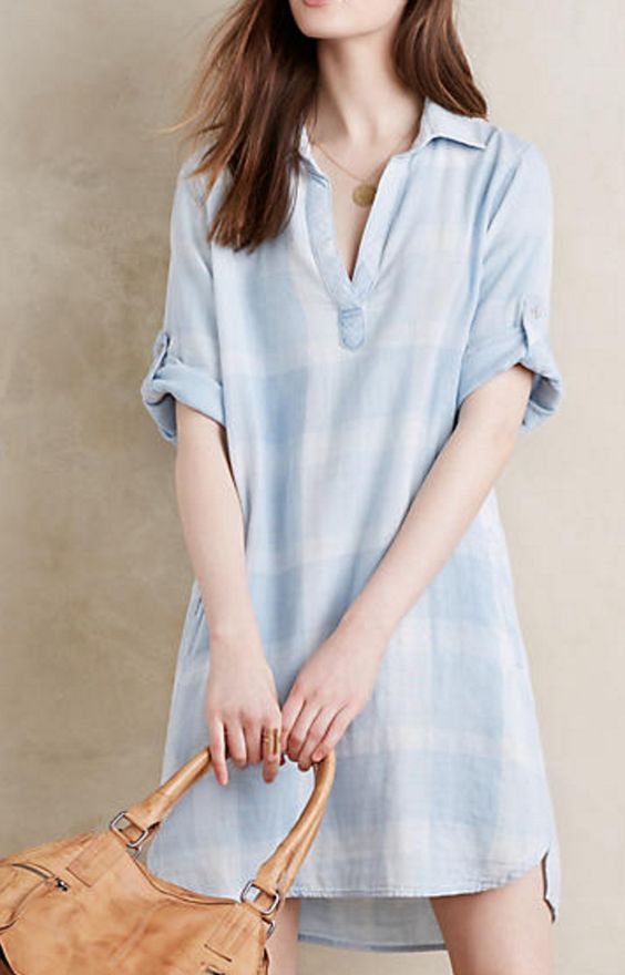 Chambray Pop-Over Shirt Dress