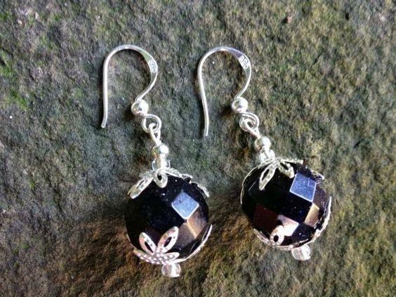 Wunderschöne Ohrringe. Edle facettierte Blauflussohringe 925 silber gestempelten Ohrhänger für alle Geschöpfe der Nacht.: