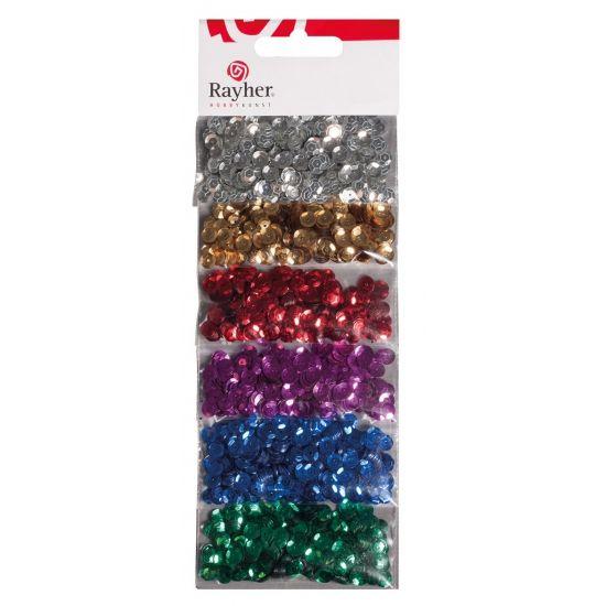 Gekleurde pailletten 42 gram. 6 zakjes met gekleurde pailletten waaronder de kleuren zilver, goud, rood, paars, blauw en groen.