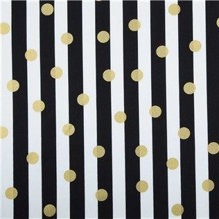 """APT3-10 Black, White & Gold Fabric -- """"lack, White & Gold Polka Dot & Stripe Fabric is 44"""" - 45"""" wide and 100% cotton. What's life without a little fun?! Create exciting clothing and home accents using this gorgeous black and white striped fabric with gold polka dots."""""""