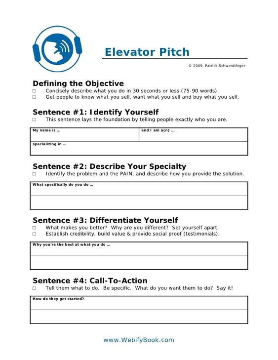 30 second pitch template - c06 business elevator pitch worksheet work pinterest
