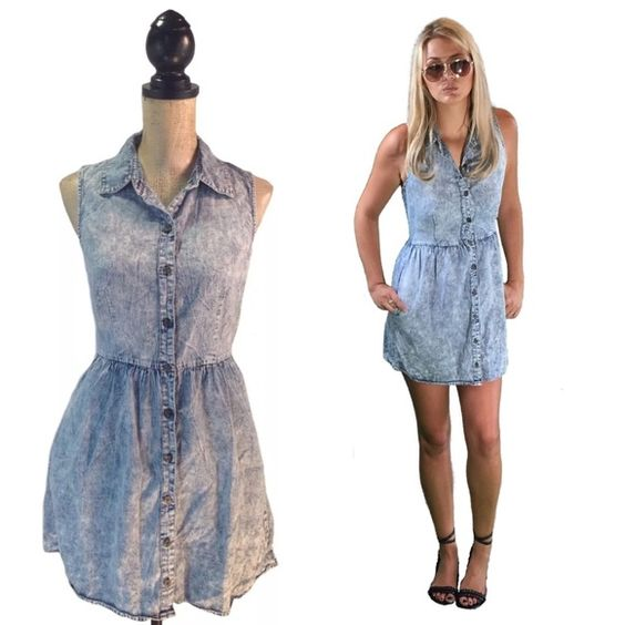 Mimi Chica Acid Wash Denim Pocket Dress #1045 Good pre-owned condition. Bust measures 17 inches across or 34 inches around. Waist measures 14 inches across or 28 inches across. Hips measure 22 inches across or 44 inches around. Length from top of shoulder to bottom hem is 31 inches. Mimi Chica Dresses