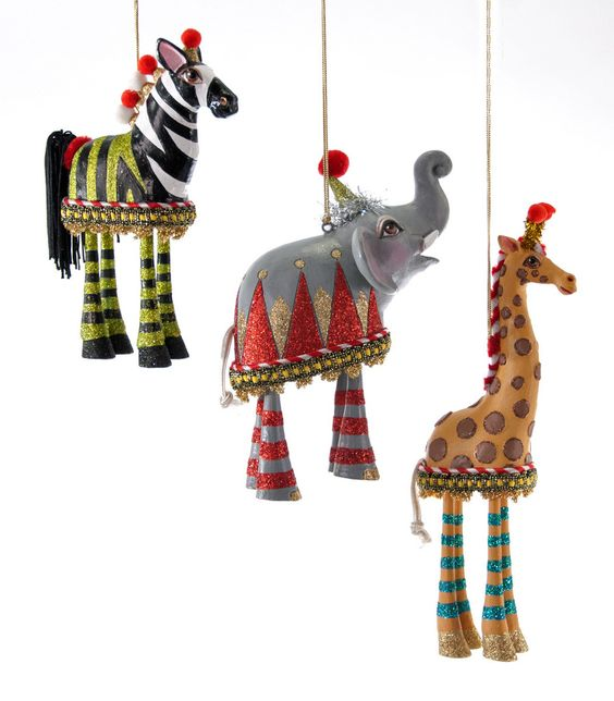 """Katherine's Collection Noel Christmas Collection Three Assorted 10"""" Noel Animal Dangle Ornaments Free Ship"""