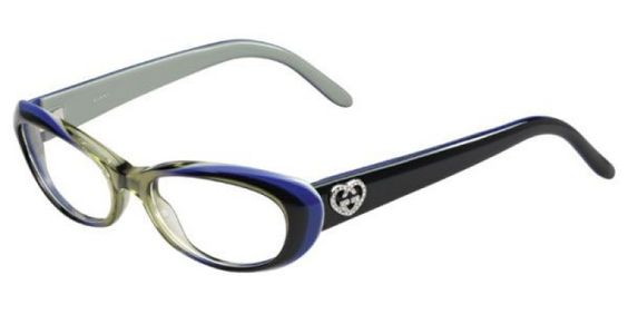 Gucci Glasses GG3515 WOC is designed for women and the frame is blue. This style has a small - 51mm lens diameter. The bridge size for this model is 17mm land the side length is standard. This adult designer prescription glasses model is a plastic, rectan