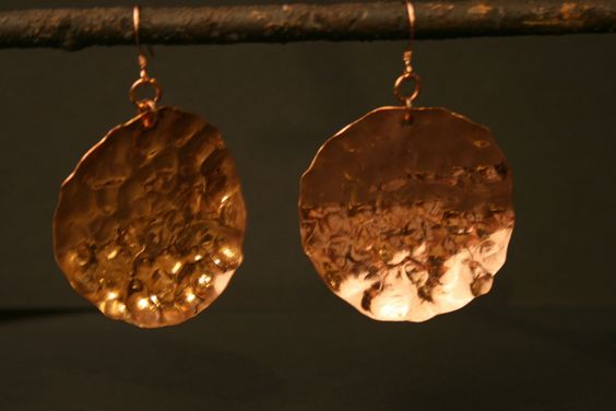 Copper Hammered Earrings (17.00 USD) by CopperRootsStudio