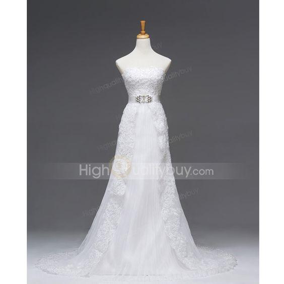 Attractive Strapless A-line Chapel Train Luxury Gauze Wedding Dress $261.86