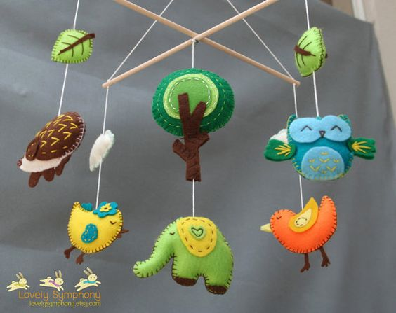 Forest baby mobile - Animals baby mobiles - Spring hanging mobiles - green forest on Etsy, $85.00