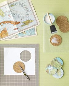 map coasters -- cut circles from the map. Adhere to the cork coaster with mod-podge and then seal again