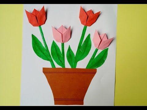 كيفية صنع بطاقة مزهرية زهرة التوليب بالورق How To Make A Tulip Flower Tulip Origami Origami Flowers Tulips Flowers