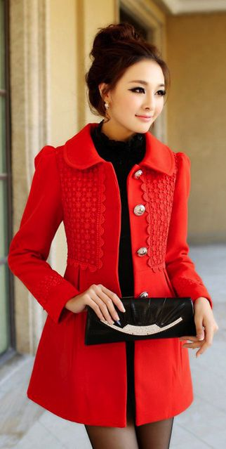 Women's fashion | Red coat and turtle neck sweater: