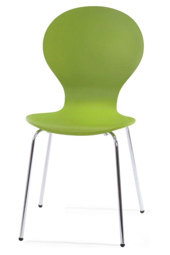 kitsch stuhl in wiesengrün. mit ihren runden formen und klaren