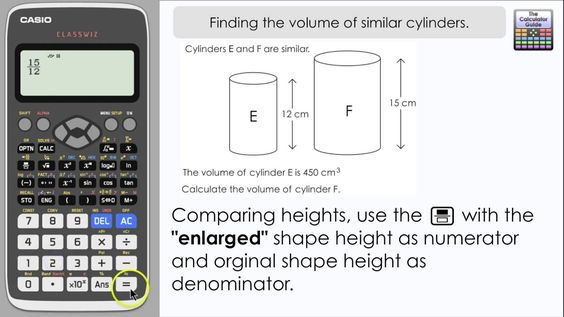 Finding the volume of similar cylinders [3D Scale Factor] (Casio Calcula...