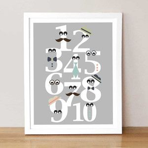 Mister Numbers 8 x 10 Gray now featured on Fab. cute,