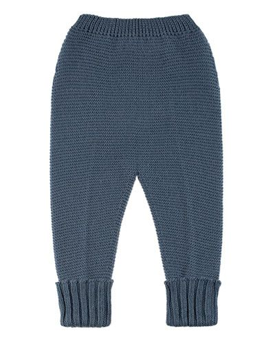 Knit Ribbed-Trim Leggings, Blue, Size 3-12 Months