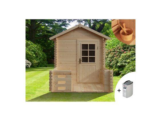Sauna d'extérieur 2/3 places HUVILA II + poêle 6kW + kit accessoires