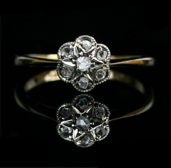 Early Victorian 18k Gold Rose Cut Diamond Flower Cluster Engagement Ring.
