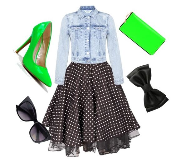 Neon, Jean, and Black by tonidanny on Polyvore featuring polyvore fashion style Miss Selfridge Qupid Comme des Garçons clothing