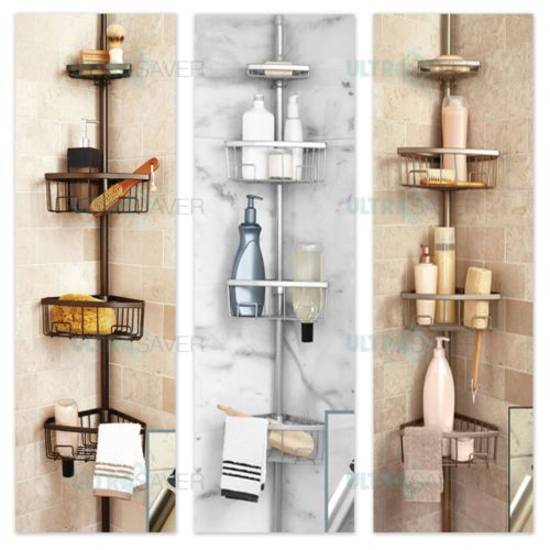 Luxury Telescopic Metal Spring Tension Pole 4 Shelf Corner Bathtub Shower Caddy Corner Bathtub Shower Bathroom Shower Accessories Bathtub Shower