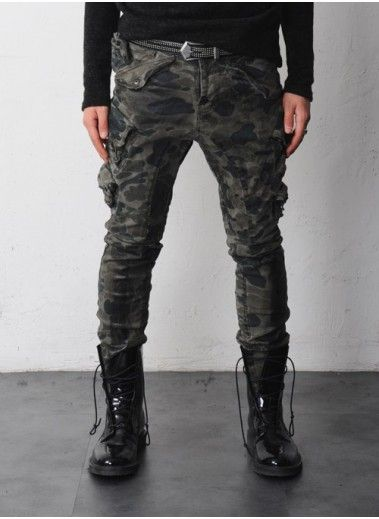 slim camo cargo pants for men - Pi Pants