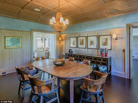 The dining room has a rustic, country feel.
