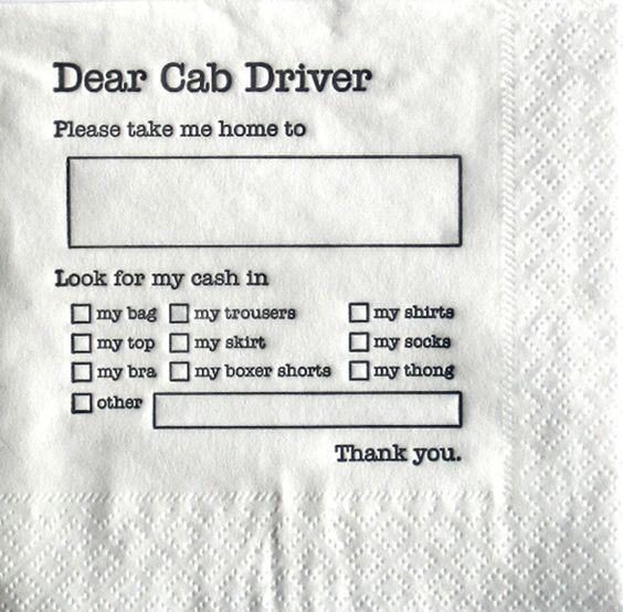 DESIGN FREE THURSDAY | DEAR CAB DRIVER.