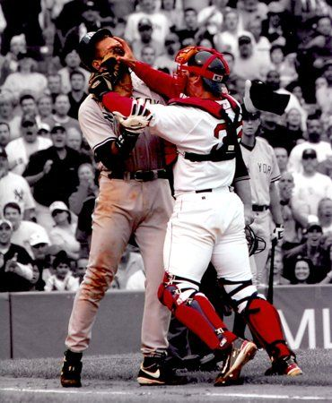 "Option #1: Boston Red Sox Jason Varitek and ARod Alex Rodriguez fight - 8""x10"" Photo with Clear Protective Sleeve $19.95"