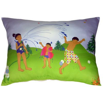 Handmade decorator summer pillow - Kids playing with a water hose