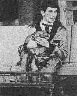 Leonard Nimoy with cat.