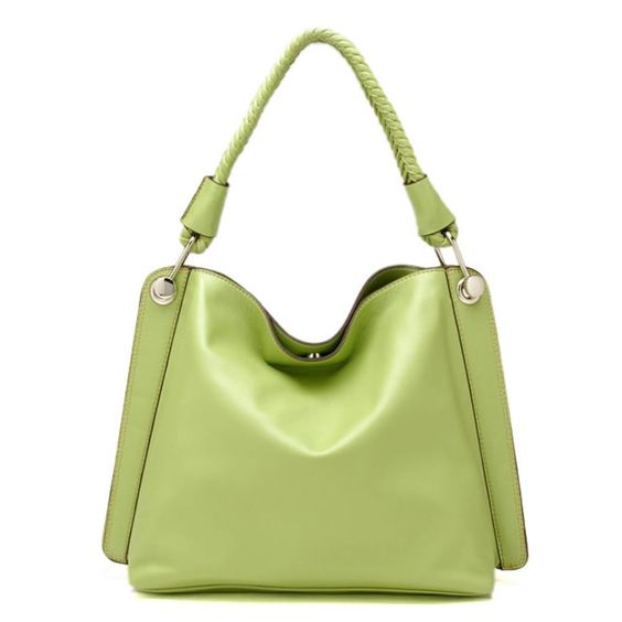 """Tosca Classic Textured Shoulder Handbag,One Size,Light Olive. Handle drop: 8"""". Body of bag: 16"""" L x 13"""" H x 5"""" W. Made from textured leatherette with silver-tone hardware. Single braided carrying handle and magnetic snap top closure. Back zip wall pocket for easy access. Spacious fully lined fabric compartment. Interior zip wall pocket, cell and sun-glass slip pouches."""