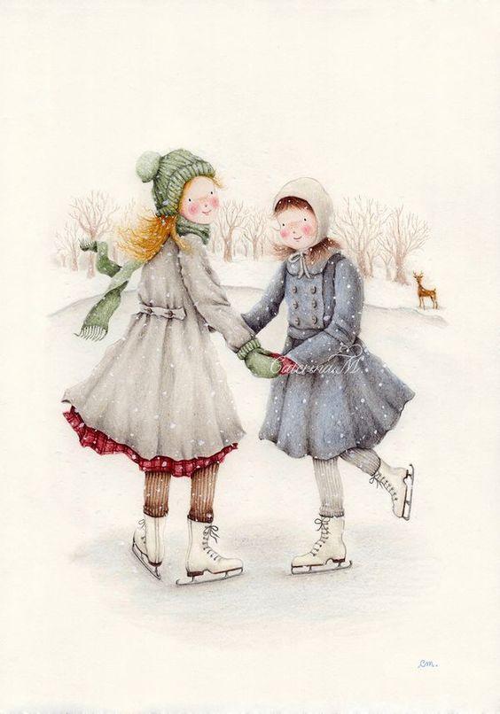 Winter joy- children's illustration by Lazydaisy.typepad.com