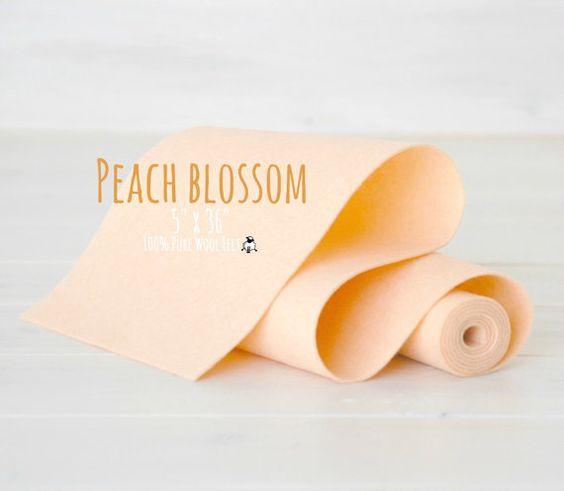 "100% Wool Felt Roll  - 5"" x 36"" Wool Felt Roll - Wool Felt Color Peach Blossom-5020 - Pastel Color Wool Felt - Peach Color Wool Felt"