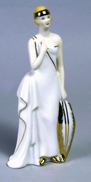 Art Nouveau Lady with Feather Porcelain Figurine
