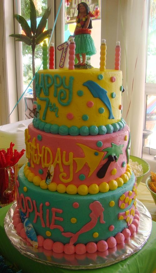 Pool Party themed Birthday cake I created for my daughters 7th Birthday