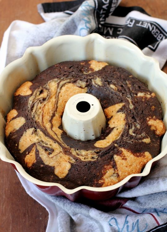 Chocolate And Banana Marble Cake