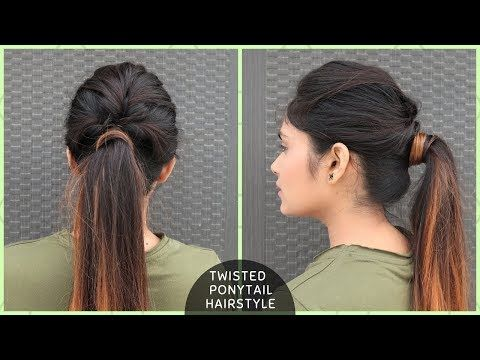 Messy Twisted Ponytail Hairstyle For College School Function Youtube Twist Ponytail Ponytail Hairstyles Diy Hairstyles