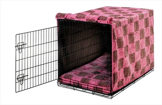 Bowsers wire crate cover and matching crate mattress in Tickled Pink
