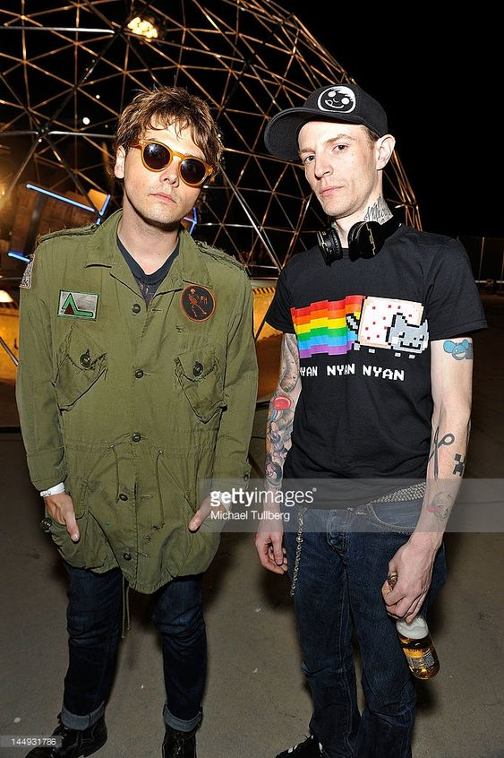 Vocalist Gerard Way of My Chemical Romance and electronic music artist Deadmau5 (Joel Zimmerman) on the set of Deadmau5' new music video 'Professional Griefers' on May 20, 2012 in Los Angeles, California (Michael Tullberg)