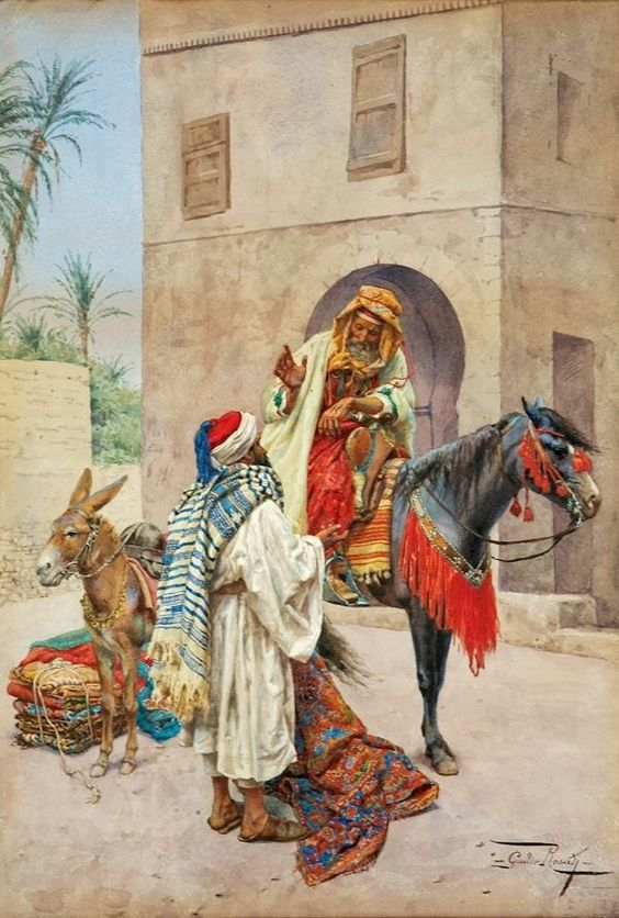 اللوحة Giulio Rosati (Italian Painter, 1858-1917) - The Carpet Seller