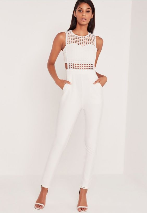 Carli Bybel x Missguided is the collaboration we've all been waiting for, from the ultimate fashion and beauty blogging queen.   There's no rest for the rad with this luxe all white jumpsuit! With a fierce caged design to the top half, ...
