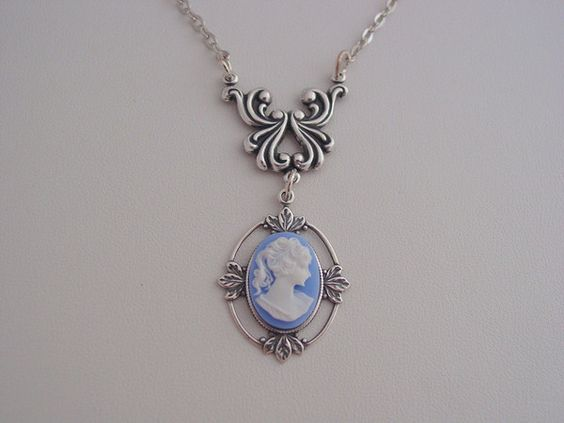 Blue White Cameo Sterling Silver Plated Floral Antique Oxidized Finish Necklace