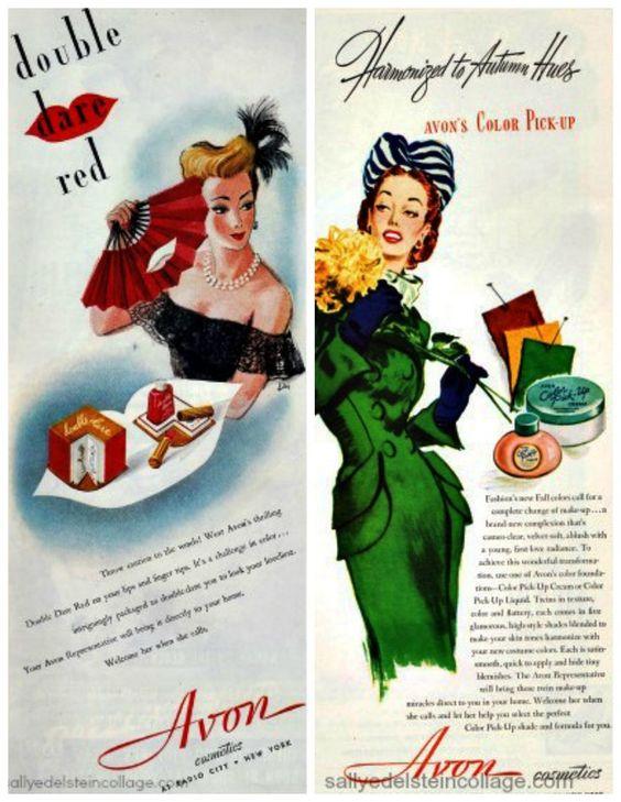 vintage avon ads   vintage Advertising Avon illustrations women 1940s