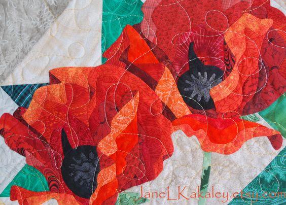 Art Quilt Pattern  Poppy Applique Quilt  Immediate by JaneLKakaley, $10.00