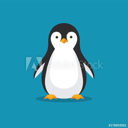 Cute Penguin Icon In Flat Style In 2021 Penguin Illustration Penguin Drawing Cute Penguins