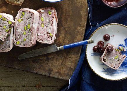 Australian Gourmet Traveller recipe for duck and pork terrine with pickled cherries by Brigitte Hafner from Gertrude Street Enoteca.