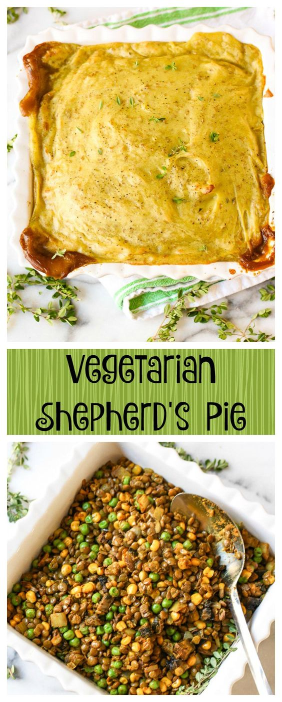 Vegetarian Shepherd's Pie. Lentils, mushrooms, and vegetables are topped with mounds of mashed potatoes in this healthy recipe.  It's awesome!
