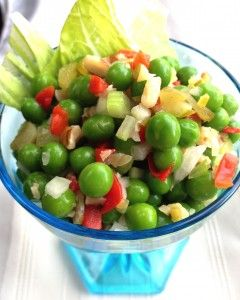 Pea Salad!  Like your Grandma used to make with peas, onion, sweet gherkins, pimientos, celery and walnuts!