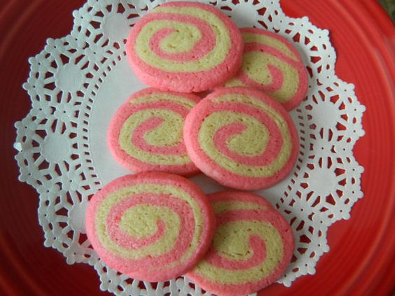 Pink Pinwheel Sugar Cookies  One Dozen by PaulasSweetTreats