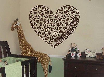 Peronalized Cheetah Spot Heart Vinyl Wall Decal Sticker Cheetah Print