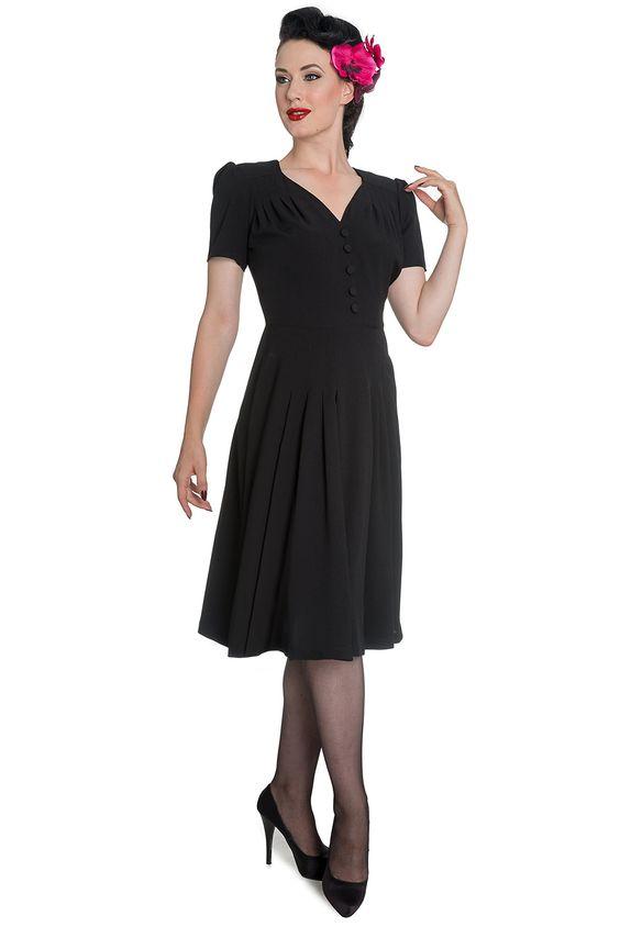 Hell Bunny Women's Black 1940s Moira Retro Vintage Dress at Amazon Women's Clothing store: