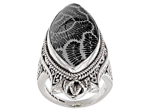 Solid 925 Sterling Silver Designer Jewelry Natural Indonesian Fossil Coral Gemstone Pendant